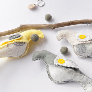 Grey and yellow bird mobile, great for baby nursery, ready to ship