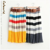 Braided leather belt with horizontal stripes dressf