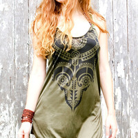 Womens tribal tank top dress, Aztec art, olive green , open back