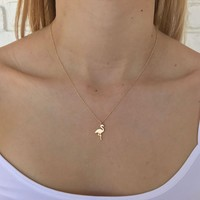 Flamingo Necklace in Gold