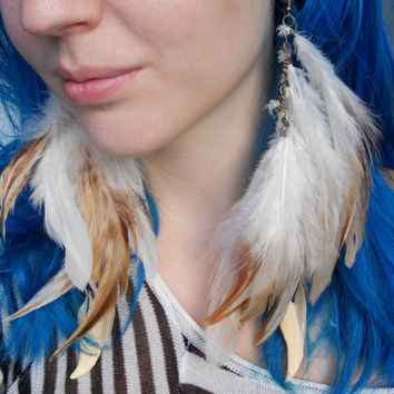 Natural Long Feather Earrings with Bone Feather- White, Cream, and Brown Rooster Feathers - Metal Chain - Dangle Earrings