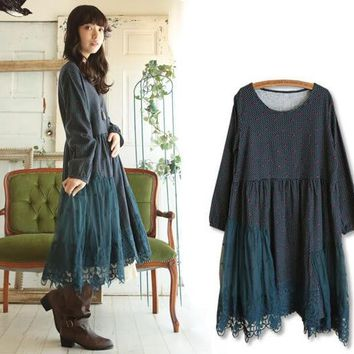 Women Corduroy Lace Crochet Long Sleeve Dress Mori Girl Lolita Casual Lace Dress Robe Hippie Boho Tunique Femme Mori Clothing
