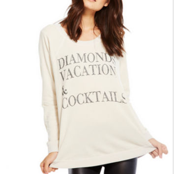 Chaser Diamonds. Vacation. & Cocktails. Glitter Sweatshirt
