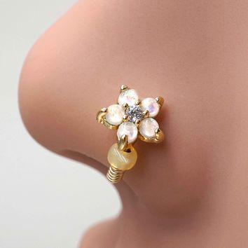 White Opal Flower Gold Nose Hoop Nose Ring Daith Rook Cartilage
