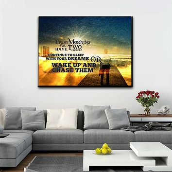 Wake Up And Chase Your Dreams Wall Art Canvas (Wood Frame Ready To Hang)