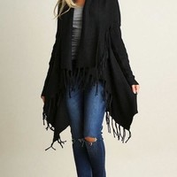 Keep Me Warm Black Fringe Open Knit Cardigan