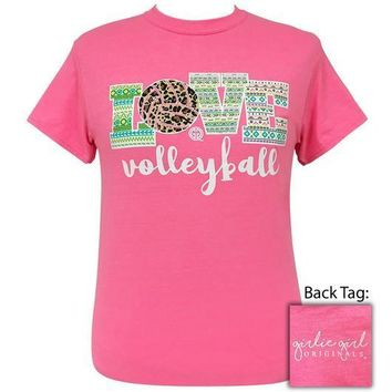 Girlie Girl Originals Preppy Love Volleyball Leopard Aztec T-Shirt