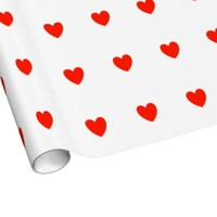Cute Red Hearts Patterned Wrapping Paper