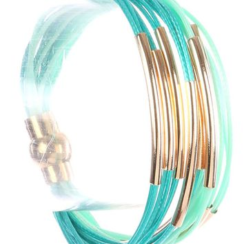 Turquoise Hollow Curved Metal Multi Cord Strand Bracelet