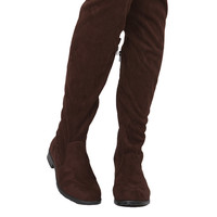 Drawstring Tie Thigh High Boots - Brown Suede