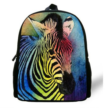 12-Inch Fashion Kids Animal Print Backpack Horse Pattern Bag For Kids Zebra Backpack Zoo Animal Bag For Children Preschool Bags