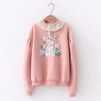 Harajuku kawaii women cashmere funny bunny print long sleeve pullover hoodies cotton tops ruffled lace sweatshirts female