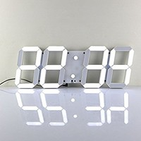 CHIHAI Silent Multifunctional Jumbo LED Digital Wall Clock with Remote Control, Large Calendar and Temperature, Count up, Countdown Timer for Home/Airport/Gymnasium(white Shell White Digital)