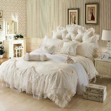 Cool Luxury Jacquard Silk princess bedding sets queen king 4/6/8pcs Beige Lace Ruffles duvet cover bedspread bed skirt bedclothesAT_93_12