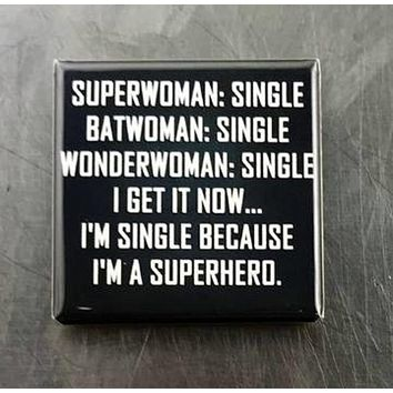 Superwoman Batwoman Wonderwoman Single Magnet in Black and White