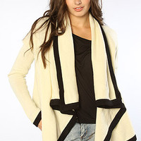 The Ariana Cardigan in Ivory & Black