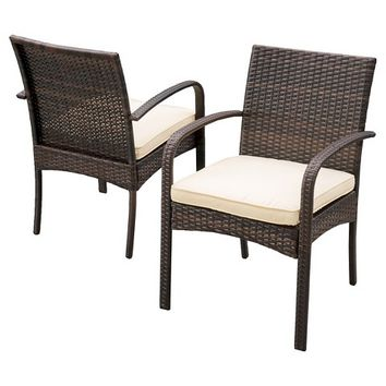Christopher Knight Home Cordoba Wicker Patio Dining Chair with Cushion (Set of 2)