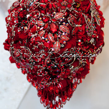 "Cascading Silver Red Wedding Brooch Bouquet. Deposit - ""Ruby Red Valentine"". Cascading Red Wedding Bouquet. Silver Bridal Broach Bouquet"