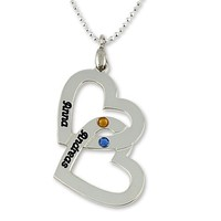 Sterling Silver Personalized Name Necklace - Custom Made Any Name with Birthstones