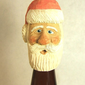 Handmade Wood Santa Claus Unique Wine Bottle Stopper Gift Art Sculpture Carving by Claude's Woodcarving