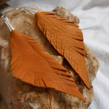 Handmade Leather Feather Earrings, Handcut from Antique Gold Deer Hide, Native American Inspired, OOAK