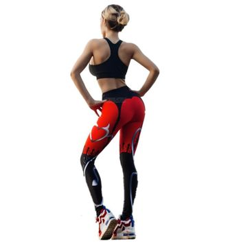 Red Printed Running Leggings 2018 High Elastic Fitness Tights Sport Wear Clothing Women Quick Dry GYM Leggings Outwork Christmas