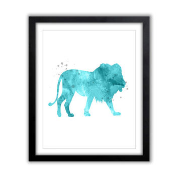 Lion Watercolor, Lion Painting, Animal Watercolor, Lion Silhouette, Abstract Lion Art, Watercolor Print, Nursery Art, Blue and Gray, PRINT