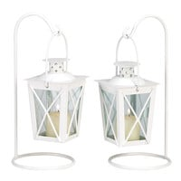 WHITE RAILROAD CANDLE LANTERNS