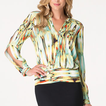 bebe Womens Print Button Up Blouse Lioness 2