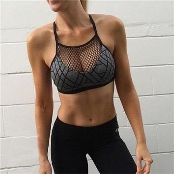DCCKFS2 Women Sexy Sports Bra Fitness Top Yoga Bra Plus Size Crop Top Mesh Running Bra Gym Workout Breathable Quick Dry Underwear