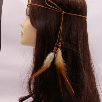 Indian long Feather Headband Hippie Headdress Hair Accessories Boho peacock feather headdress