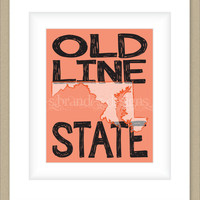 8x10 Maryland Print, The Old Line State Map Art Custom Colors Typography