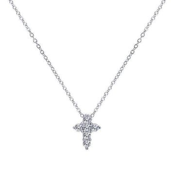 Petite Diamond Cross Necklace with Pave Set Diamonds