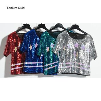 Ladies Fashion Casual Tee Shirt Femme Shiny Sequins T Shirt Loose Tops Hip Hop Jazz Sequin Top Crop Tops Free Shipping