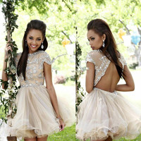 Homecoming Dresses Above Knee, Mini Sparkly Beaded Sexy Short Sleeve Open Back Applique Party Dress