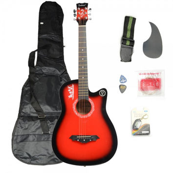 Basswood Guitar Red with Bag Straps Picks LCD Tuner Pickguard String