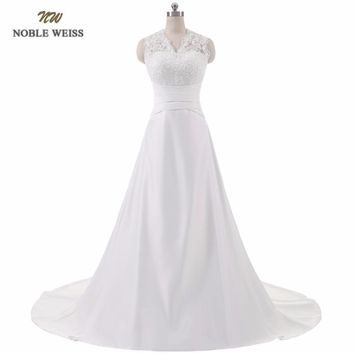 NOBLE WEISS Sexy Satin Vintage A-Line Wedding Dress 2017 Romantic Wedding Gowns Vestido de Noiva With Court Train