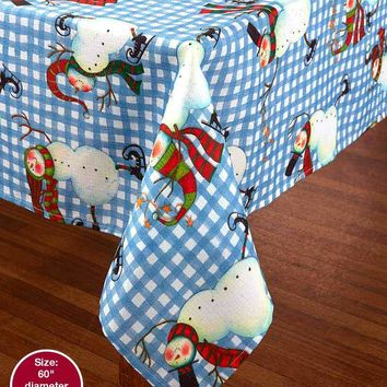 Snowman Ice Skating Holiday Tablecloth Country Inspired Print Christmas Winter