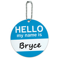 Bryce Hello My Name Is Round ID Card Luggage Tag