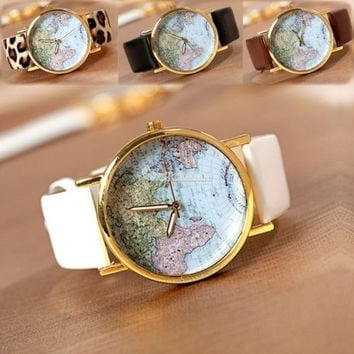 Fashion Leather Band World Map Design Analog Students Casual Quartz Wrist Watch = 1931931972