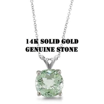 14K Solid White Gold 1.0cttw Round Green Amethyst Gemstone Pendant in Gold Fill Chain