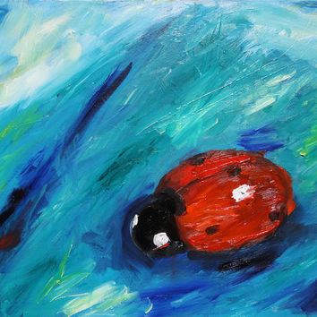 large abstract oil, painting on canvas, blue wall art, 18x24 original art, free shipping, living room decor, contemporary decor, ladybug