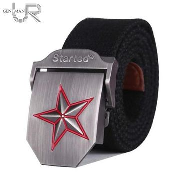 Hot 3D-Red Star Buckle Military Belt Fashion