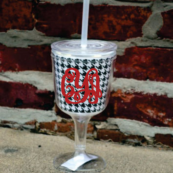 MONOGRAMMED Houndstooth Acrylic Wine Glass with Lid and Straw - Bridesmaid Gift - Vacation - Summer Hot Pink Aqua Lime