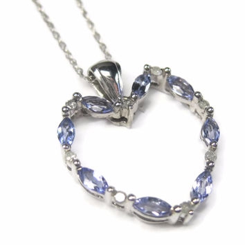 Dainty Vintage Tanzanite Diamond Heart Pendant Necklace
