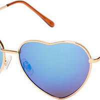Luvs Eye Heart Gold & Black Mirror Sunglasses