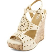 Studded Cutout Wedge Sandal: Charlotte Russe
