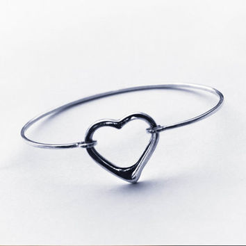 Open Heart Bangle, Open Heart bangle in sterling silver, Heart Bangle Bracelet, Sterling Silver Open Heart Bangle, Heart Bangle Bracelet