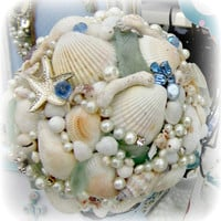 Shell and Jewelry Topiary on Distressed Candlestick,  Beach Wedding Shabby Decor Nautical Decor