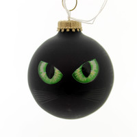 Holiday Ornaments HALLOWEEN CAT EYES/EYEBALL Glass Spooky 710019A Black
